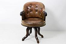 antique bureau chair in mahogany and leather