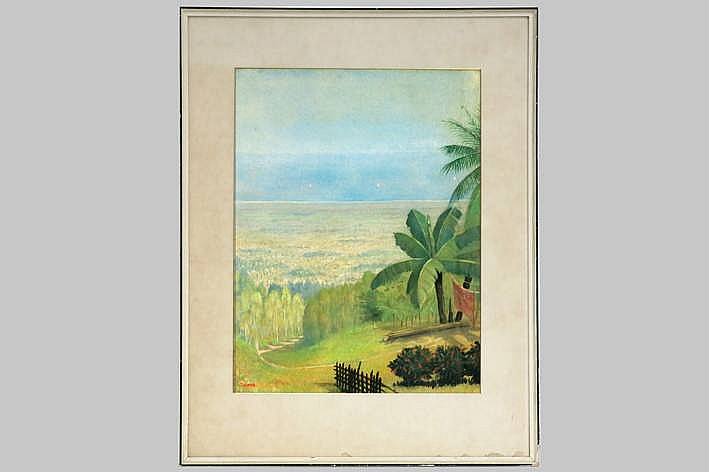 20th Cent. aquarelle with a Javanese view - signed