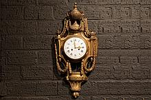 antique French neoclassical wall clock with case in guilded bronze - signed on the face