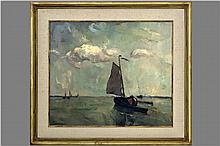 DEWEERDT ARMAND (1890 - 1982) olieverfschilderij op paneel : 'Marine' - 60 x 70 getekend oil on