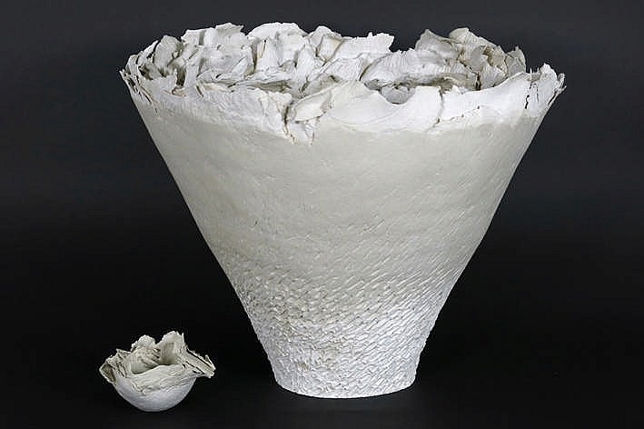 two 20th Cent. French object/sculptures in fine ceramic with typical flowershape with very fine leafs - possibility to get a certificate