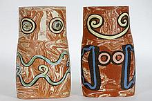 two 20th Cent. Belgian sculptures in ceramic with inlay of colorfull earthenware - signed and dated