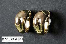 pair of 'Bulgari' earrings in pink and yellow gold (18 carat) with a pochette - marked and signed