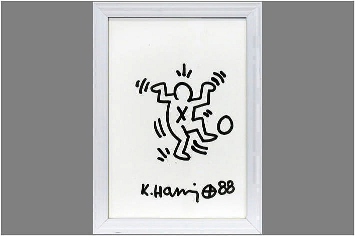 20th Cent. typical 'K. Haring' drawing - signed and dated