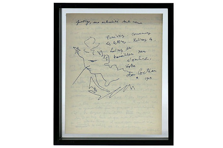20th French drawing in ink on a double sided letter - signed and dated - framed