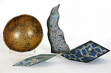 four 20th Cent. Italian ceramic items 3 sculptures with typical polychromy and a dish - signed