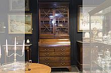 antique English neoclassical bureau-bookcase in mahogany