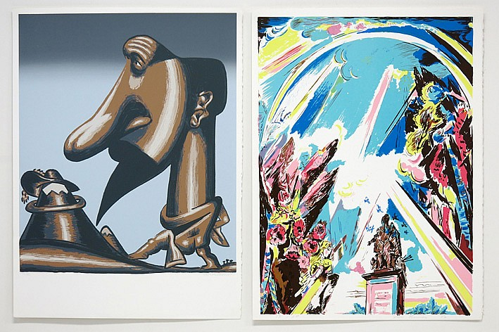 Lot van twee kleurlitho 's getekend * Flor Hermans (° Tremelo 1953) * Walter Goossens (° Lier 1943)