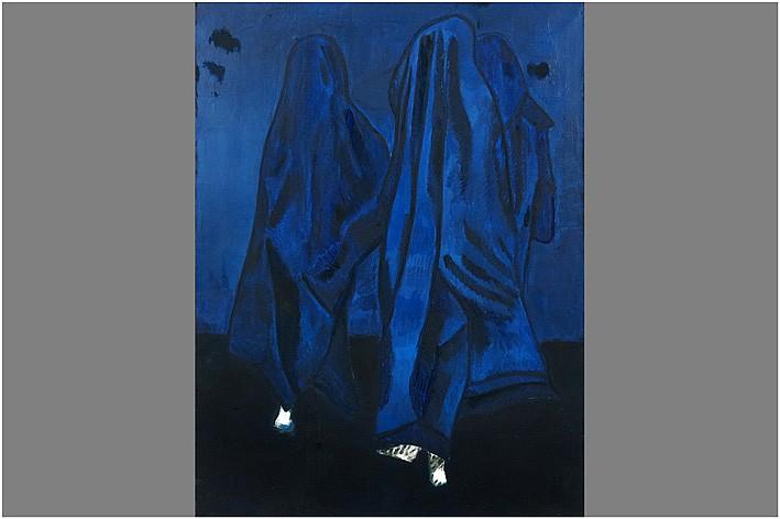 VOSCH MARC (1947 - 1989) olieverfschilderij op doek op verso getiteld Le Retour - 120 x 90 op verso getekend
