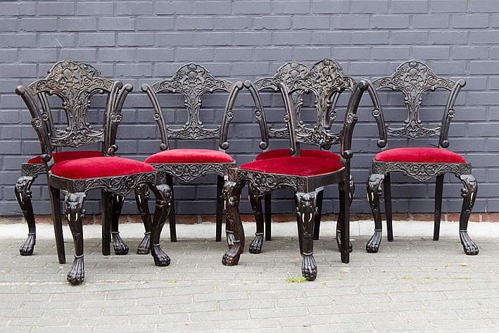 Reeks van zes speciale antieke oosters koloniale stoelen in - Chair antieke ...