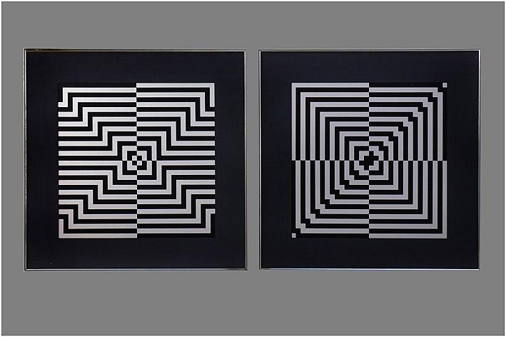 JAGENEAU TOM (1925 - 1997) twee litho's n° 6/100 en 96/100 telkens met een abstracte compositie - telkens: 32 x 32 getekend