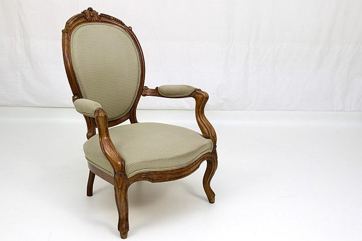 Antieke napoleon iii armstoel in gesculpteerde kerselaar - Chair antieke ...