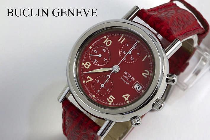 BUCLIN GENEVE automatisch chronograaf damespolshorloge in staal met rode cadran en roodlederen band en met originele sluiting gemerkt