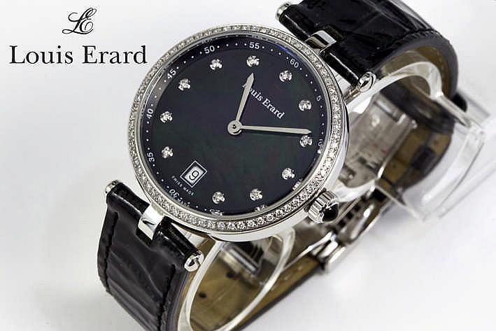LOUIS ERARD volledig origineel quartz damespolshorloge in staal met zwarte wijzerplaat bezet met briljant - met originele krokodillenlederen band en (volle) sluiting gemerkt