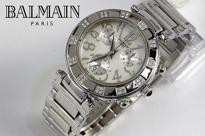 BALMAIN - PARIS volledig origineel quartz chronograaf damespolshorloge in staal met wijzerplaat in parelmoer en met briljant - met originele schakelband en sluiting gemerkt