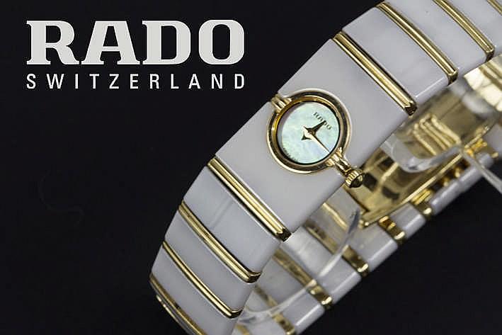 RADO volledig origineel quartz damespolshorloge in keramiek en geelgoud (18 karaat) met origineel bracelet/schakelband en verborgen sluiting gemerkt