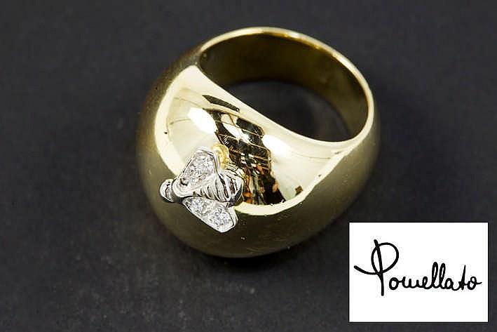 POMELLATO ring in geelgoud (18 karaat) met een typisch vlindermotief in witgoud (18 karaat) bezet met 0 10 karaat blauwwitte (D/E) kwaliteitsbriljant (Vvs) - 17 8 gram - met originele pochette gemerkt en getekend