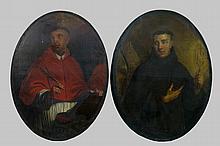 HERREYNS WILLEM JACOB (1743 - 1827) - OMGEVING VAN twee ovale olieverfschilderijen op doek (herdoekt): Heiligen - telkens: 109 x 80 - ca 1800