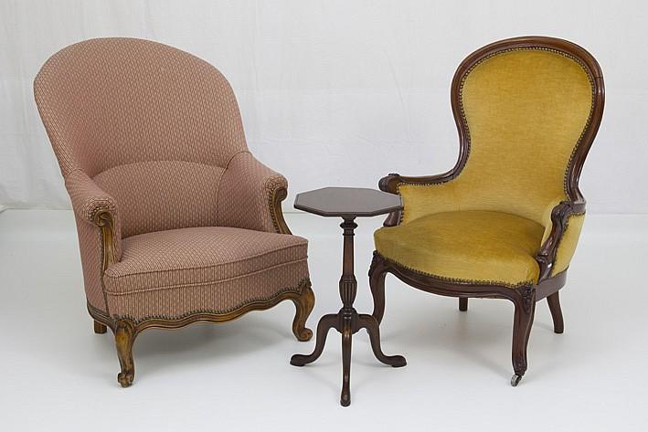 Lot met een antieke fauteuil met zgn lepelmodel een zgn cha - Chair antieke ...