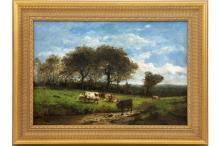 """DE COCK CÉSAR (1823 - 1904) olieverfschilderij op doek : """"Landschap met koeien"""" - 44 x 64 getekend"""