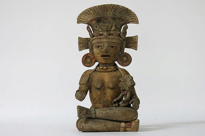 Precolumbiaanse sculptuur in aardewerk met originele polychromie :