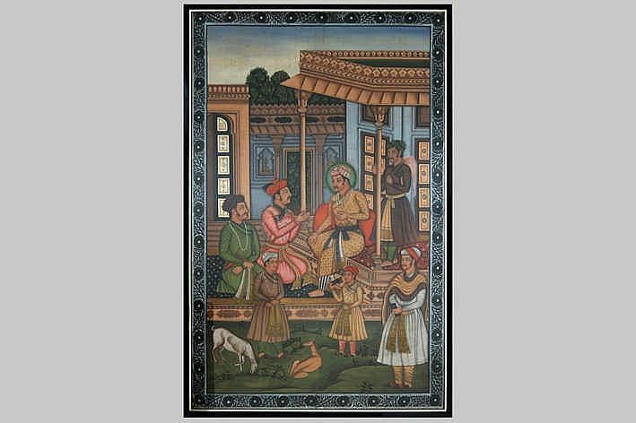 Indische 'Moghul'schilderij op zijde met de voorstelling van