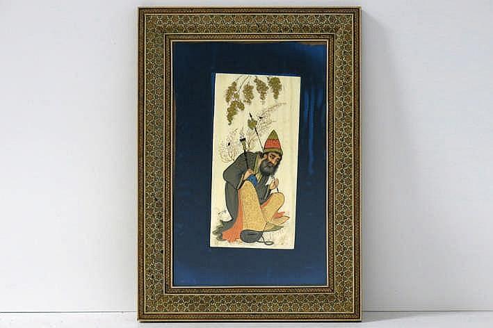 Indische ivoren plaket met een pijprokende man - 20 x 9 5 - ingekaderd