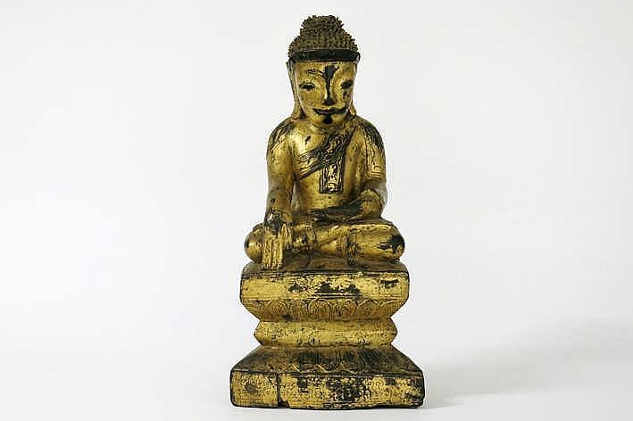 BIRMA - 18°/19° EEUW mooie 'Shan' sculptuur in gelakt en gedoreerd hout :