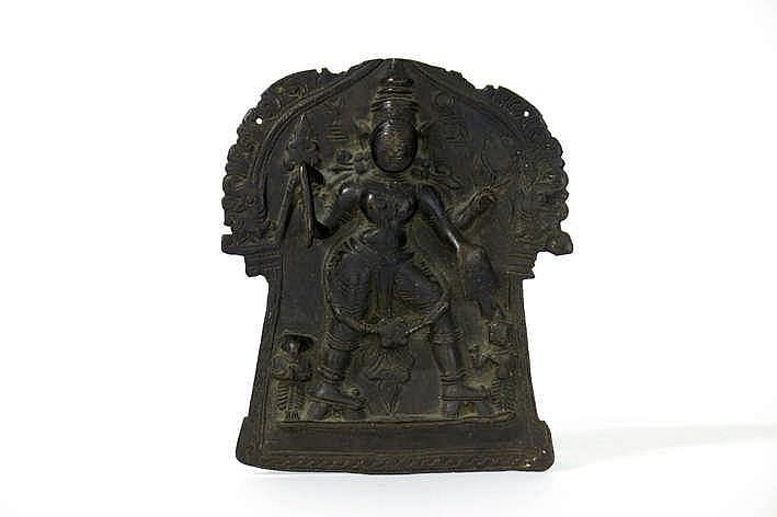 NEPAL - 18° EEUW mooi votief plaket in brons met de voorstelling van Vishnu - hoogte en breedte : 14 5 en 12 cm