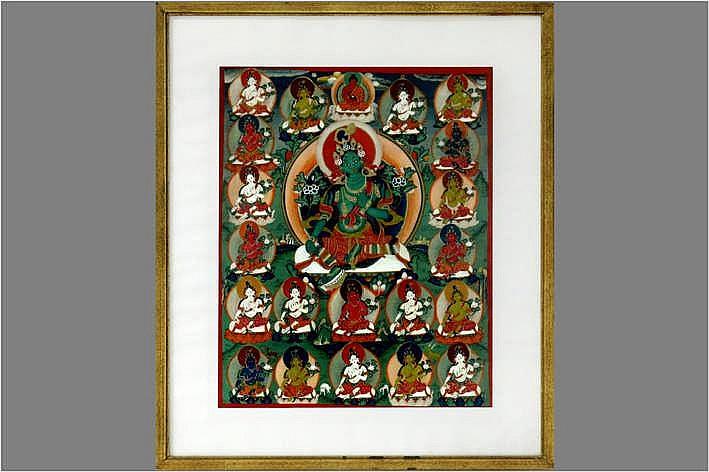 Tibetaanse tangka met centraal de voorstelling van de