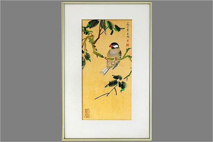 Getekende Chinese aquarel :