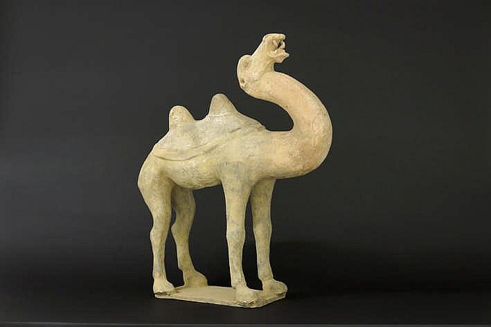 CHINA - TANG-DYNASTIE (607 - 906) door de grootte vrij zeldzame grafvondst in aardewerk in de typische vorm van een kameel - hoogte en breedte : 58 en 48 cm