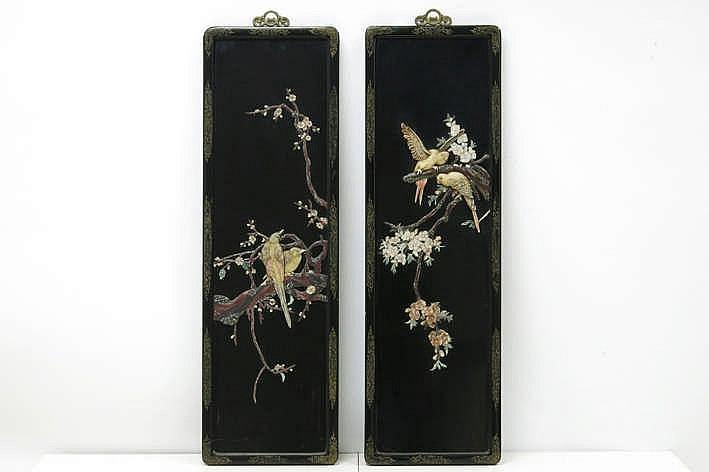 Lot met een paar Chinese lakpanelen met een vogeldecor in ivoor parelmoer ... - telkens : 106 x 33 5 cm