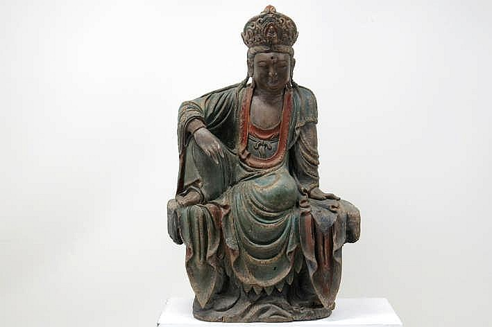 NOORDOOST-CHINA / SHANXI - 18° EEUW grote (hoogte : 120 cm) sculptuur in gepolychromeerd hout :