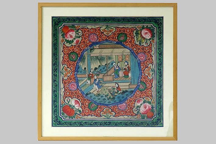CHINA - 19° EEUW gouache met een fijnuitgwerkt Qing-tafereel met personages omringd door bloemen - 41 5 x 41 5 - ingekaderd