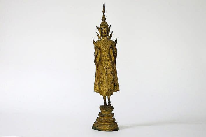 THAILAND - 19° EEUW sculptuur in gedoreerde brons :