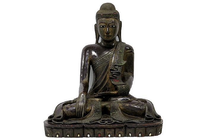 THAILAND - 18°/19° EEUW mooie sculptuur in gelakt en gedoreerd hout met glasinleg :