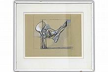 """JUNG SIMONETTA (1917 - 2005) werk in gemengde techniek : """"Abstracte composi"""