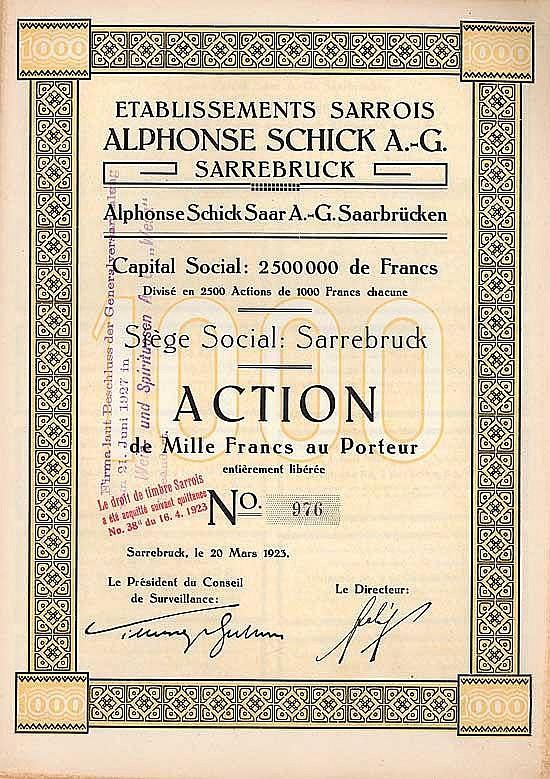 Alphonse Schick Saar AG