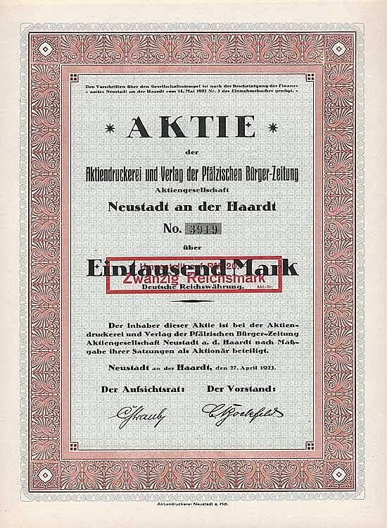 Aktiendruckerei und Verlag der Pfälzischen Bürger-Zeitung AG