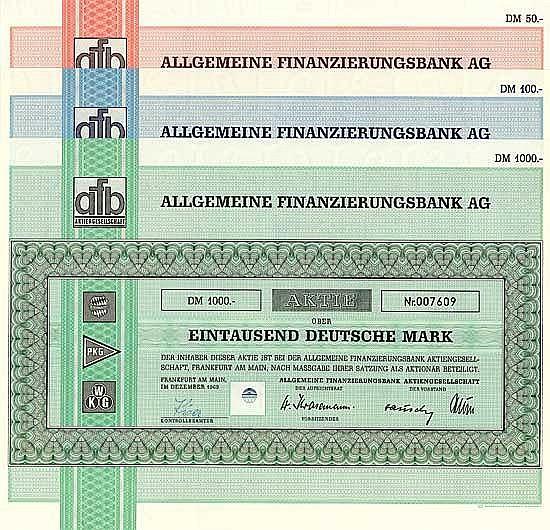 Allgemeine Finanzierungsbank AG (3 Stücke)