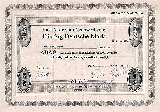 AHAG Aktienhandelsgesellschaft für Spezialwerte AG