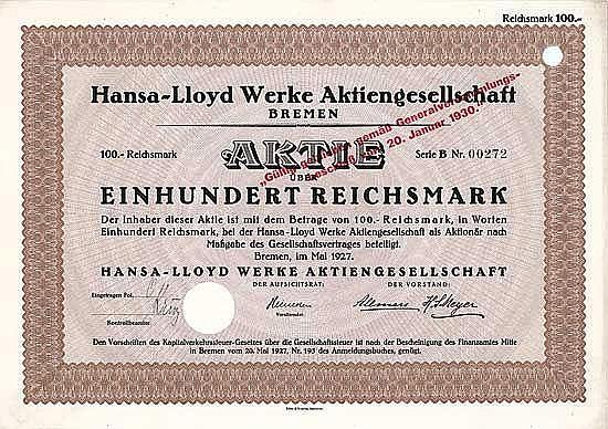 Hansa-Lloyd Werke AG (1930 gültig geblieben)