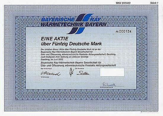 Bayerische Ray-Wärmetechnik Bayern Gesellschaft für Gas- und Ölfeuerung, wärmetechnische Produkte AG