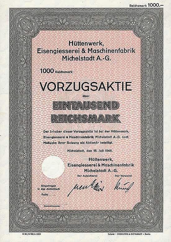 Hüttenwerk, Eisengiesserei & Maschinenfabrik Michelstadt AG