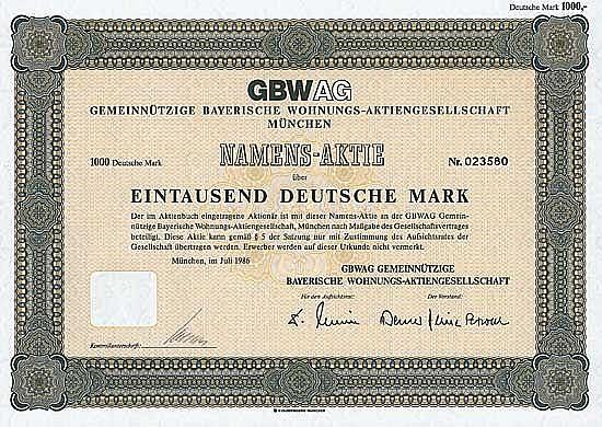 GBWAG Gemeinnützige Bayerische Wohnungsgesellschaft AG