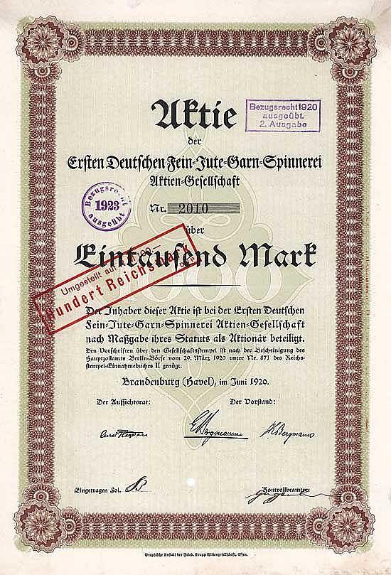 Erste Deutsche Fein-Jute-Garn-Spinnerei AG