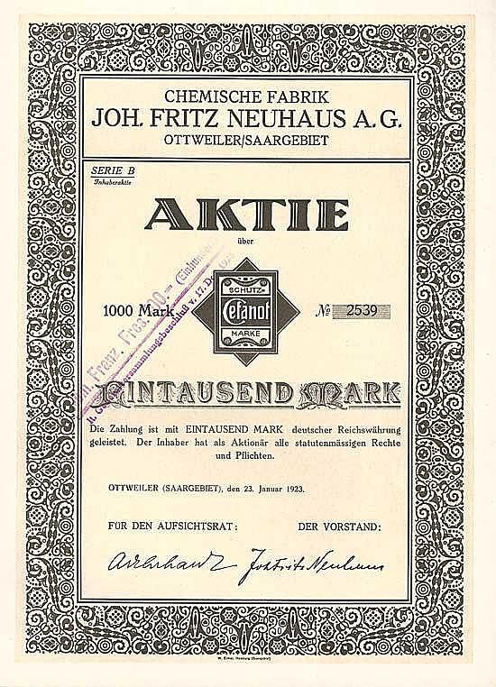 Chemische Fabrik Joh. Fritz Neuhaus AG