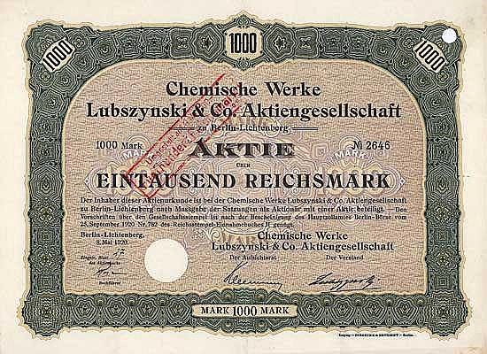 Chemische Werke Lubszynski & Co. AG