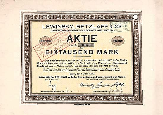 Lewinsky, Retzlaff & Co. Bank-KGaA